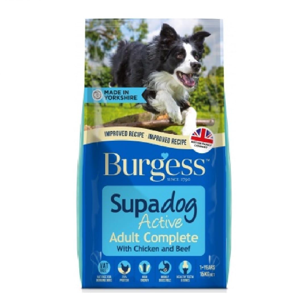 3a004b531d838 Burgess Supadog Active 15 kg z kurczakiem i wołowiną - karma dla psa